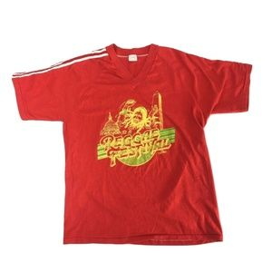 REGGAE FESTIVAL T-shirt VTG 80's Red V-neck M